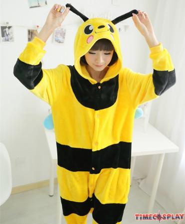 Bee Onesies Pajamas Unisex Flannel Kigurumi Onesies Winter Animal Pajamas For Adults