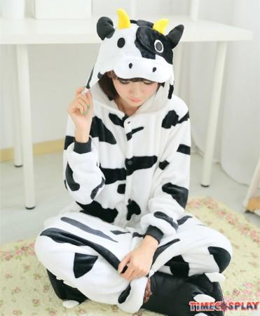 Dairy Cow Onesies Pajamas Unisex Flannel Kigurumi Onesies Winter Animal Pajamas For Adults