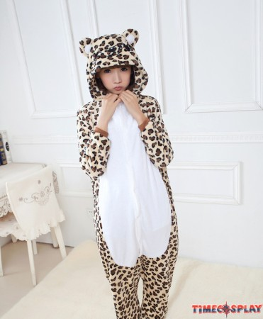 Leopard Print Onesies Pajamas Unisex Flannel Kigurumi Onesies Winter Animal Pajamas For Adults