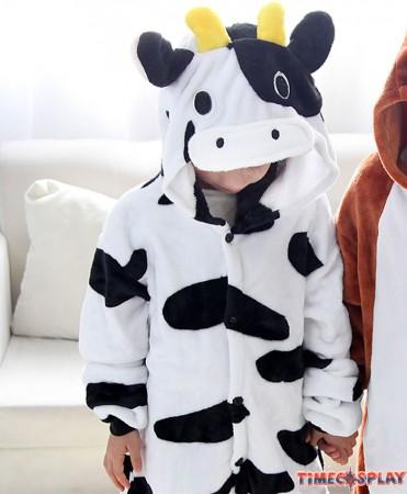 Dairy Cow Pajamas Flannel Children Kigurumi Onesies Winter Animal Pajamas For Kids