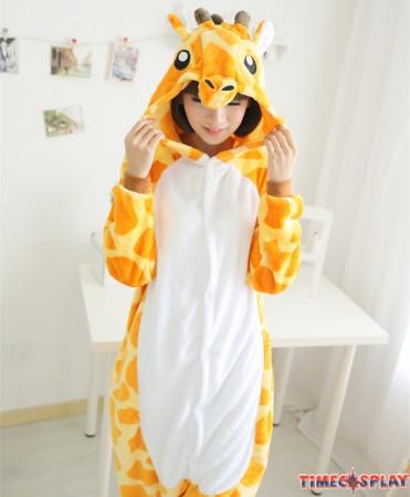 Giraffe Onesies Pajamas Unisex Flannel Kigurumi Onesies Winter Animal Pajamas For Adults