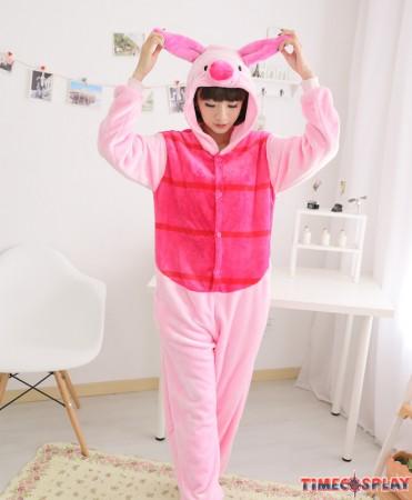 Pig Onesies Pajamas Unisex Flannel Kigurumi Onesies Winter Animal Pajamas For Adults