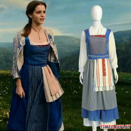 2017 Beauty and the Beast Princess Belle Maid Blue Dress Costume