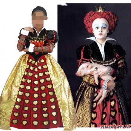 Alice In Wonderland Cosplay Red Queen Dress Halloween Costumes For Kids