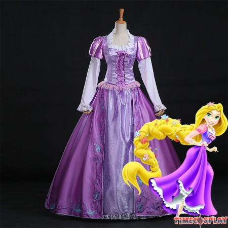 Disney Tangled Rapunzel Princess Dress Halloween Cosplay Costume