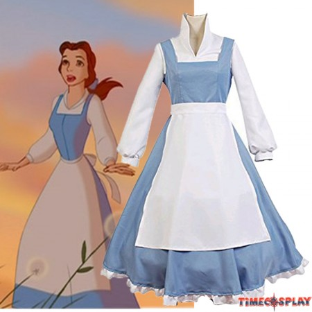Disney Beauty And The Beast Belle Princess Blue Dresses Cosplay Costumes