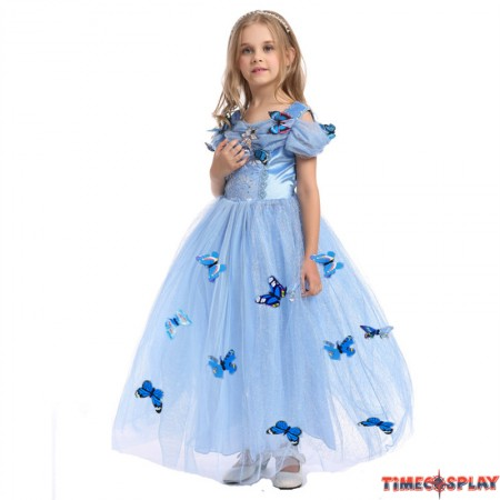 Disney Cinderella Princess Dress Cosplay Halloween Dress For Kids