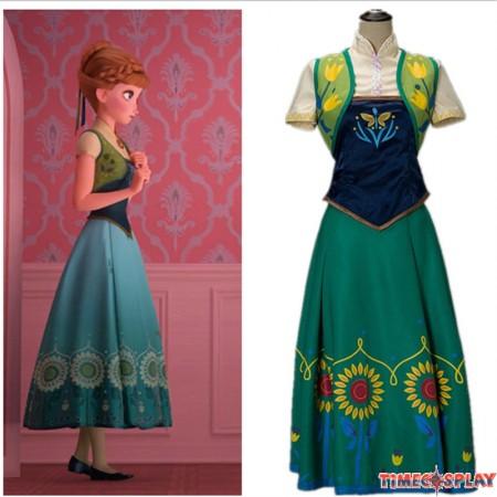 Disney Frozen Fever Anna Dress Cosplay Costume