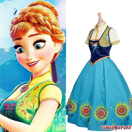 Disney Frozen Fever Anna Dress Cosplay Halloween Costume - Deluxe Edition