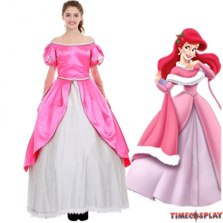 Disney Little Mermaid Ariel Princess Pink Dress Party Costume Cosplay