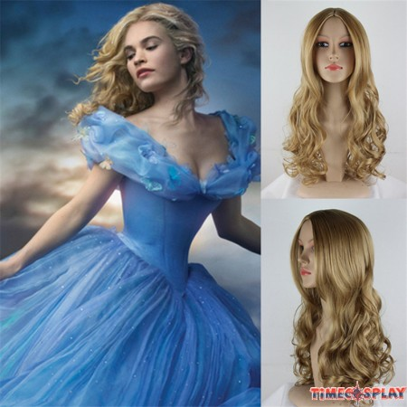 Disney Princess Cinderella Long Curly Hair Cosplay Wig