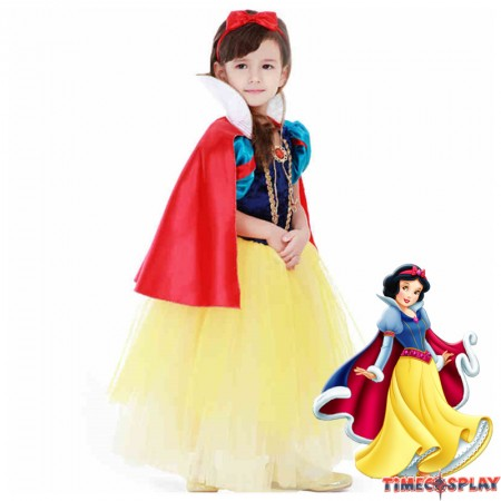 Disney Storybook Snow White Princess Girls Dress Costume Cosplay For Kids
