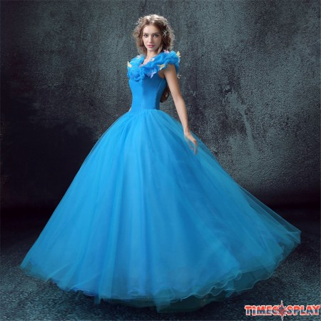 Disney Live Action Film Adult Cinderella Wedding Blue Dress Cosplay Costumes - Deluxe Version