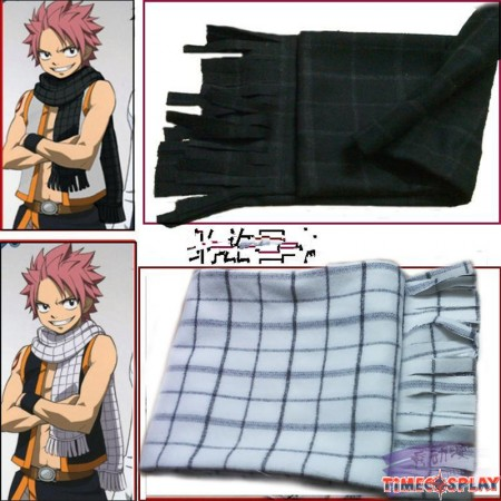 Fairy Tail Etherious Natsu Dragneel White Checks Tassel Cosplay Scarf