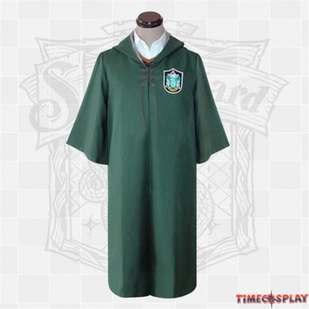 Harry Potter Slytherin Robe Cloak Quidditch Cosplay costume-Adult