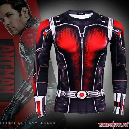 Timecosplay Marvel Superhero Ant Man Cosplay Sport Tight Tops Long Tee Shirt