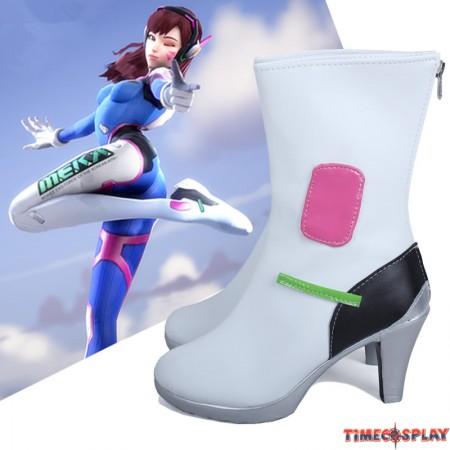 Overwatch OW D.Va DVa Hana Song White Cosplay Shoes