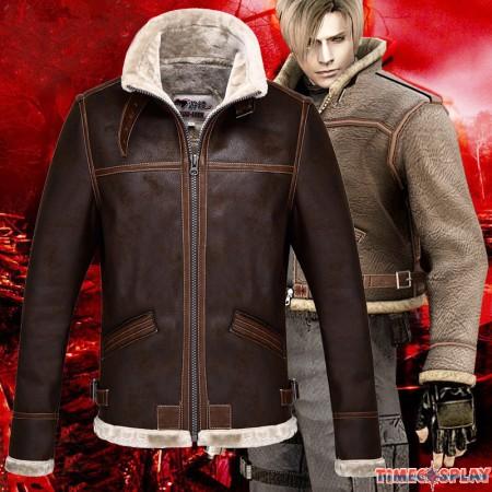 Resident Evil 4 Leon Scott Kennedy Warm Leather Jacket Costume