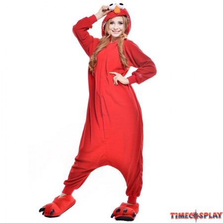 Sesame Street Elmo Onesie Kigurumi Pajama For Adults