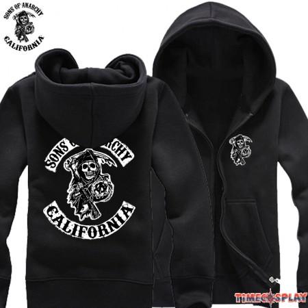 TimeCosplay SOA Sons Of Anarchy Samcro Icon Men Zipper Hoodies Sweatshirts