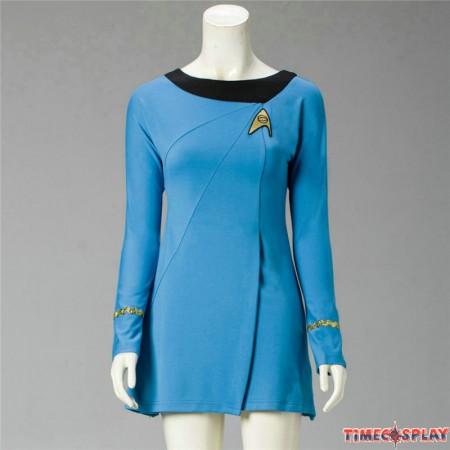 Star Trek Cosplay Female Duty TOS Blue Uniform Dress Costume