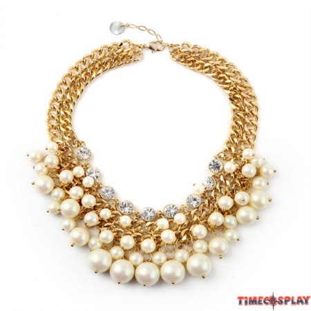 Timecosplay 2 Broke Girls Caroline Cosplay Inspired Cream Pearl Beads Necklace Pendant