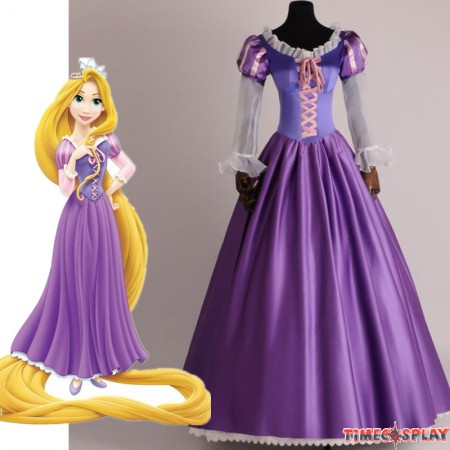 TimeCosplay Disney Tangled Princess Rapunzel Adult Cosplay Costume Dress - Deluxe Original Version