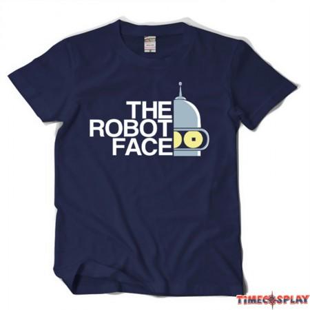 Timecosplay Futurama The Robot Face Sleeve Tee Shirts