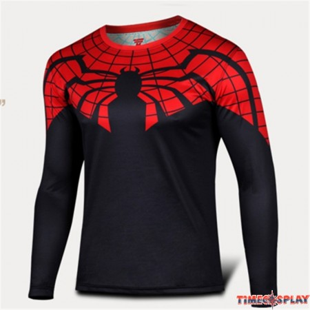 Timecosplay Marvel Superhero Spider-Man 3D Print Cosplay Men Long Tee Shirt