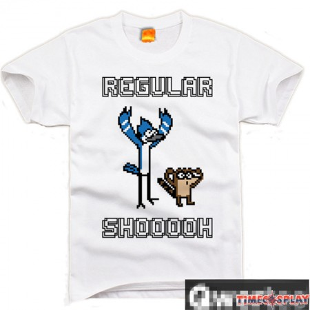 Timecosplay Regular Show Mordecai&Rigby Short Sleeve T-Shirts