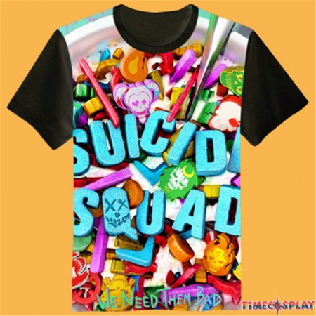 Timecosplay Suicide Squad Icon 3D Print Harajuku Tee Shirts