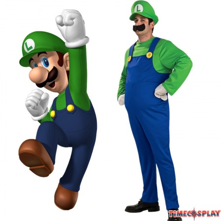 Timecosplay Super Mario Brothers Deluxe Luigi Mario Adult Cosplay Costume