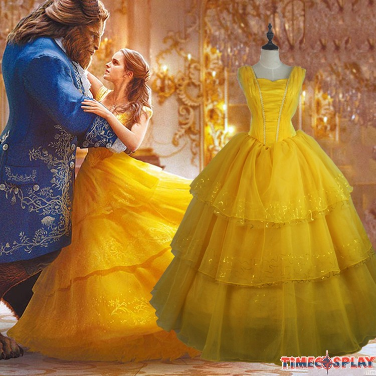 2017 movie beauty and the beast princess belle cosplay dress halloween costume. Black Bedroom Furniture Sets. Home Design Ideas