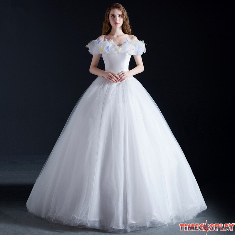 Disney cinderella wedding red white dress cosplay costumes for Cinderella wedding dress up