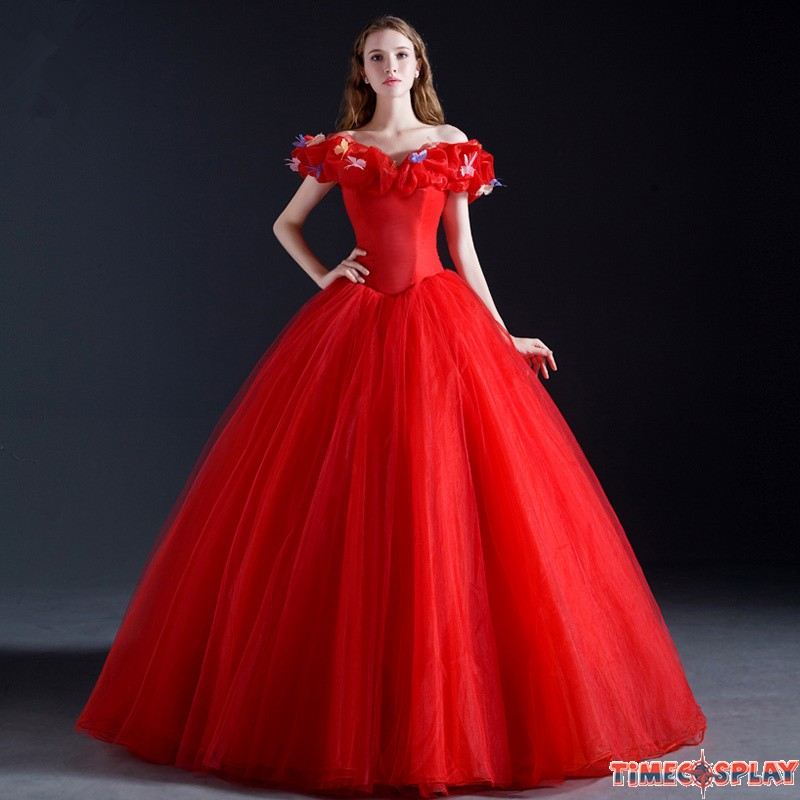 Disney Cinderella Wedding Red White Dress Cosplay Costumes
