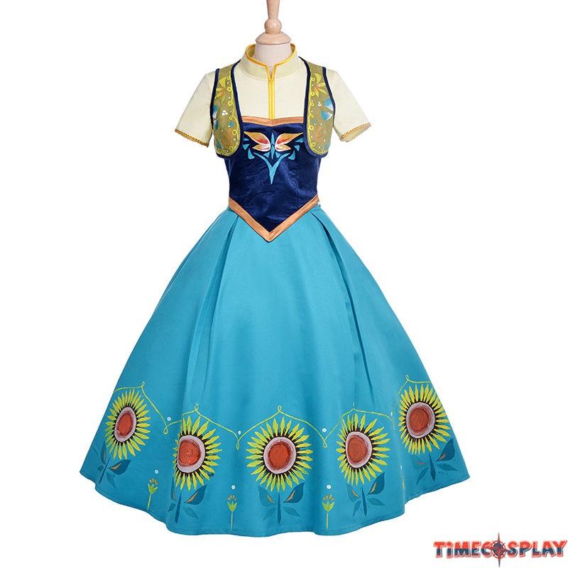 disney frozen fever anna dress cosplay halloween costume deluxe edition - Halloween Anna Costume