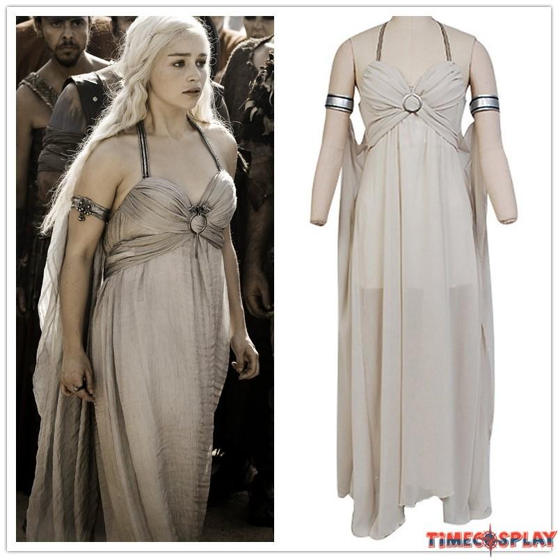 game of thrones daenerys targaryen grey dress cosplay costume. Black Bedroom Furniture Sets. Home Design Ideas