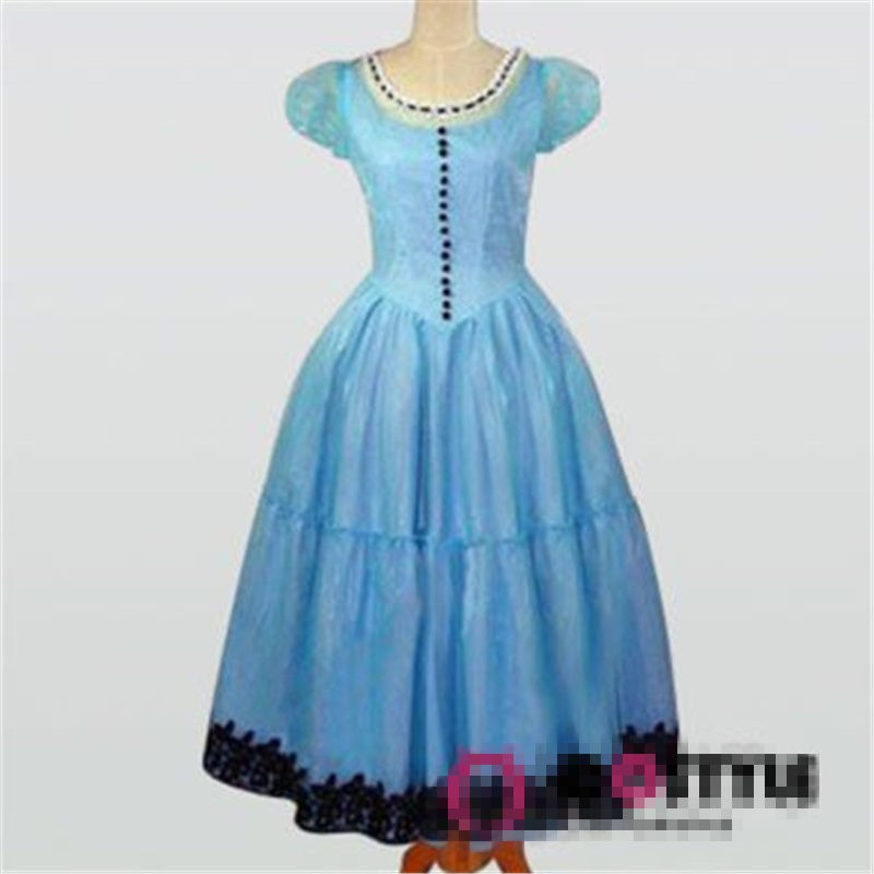 Alice In Wonderland Cosplay Tim Burton Blue Dress Halloween Costume