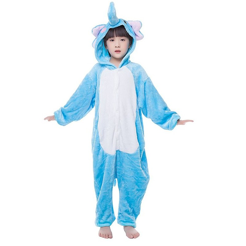 Childrens Halloween Blue Elephant Onesie Kigurumi Onesie Animal Pajama Cosplay For Kids