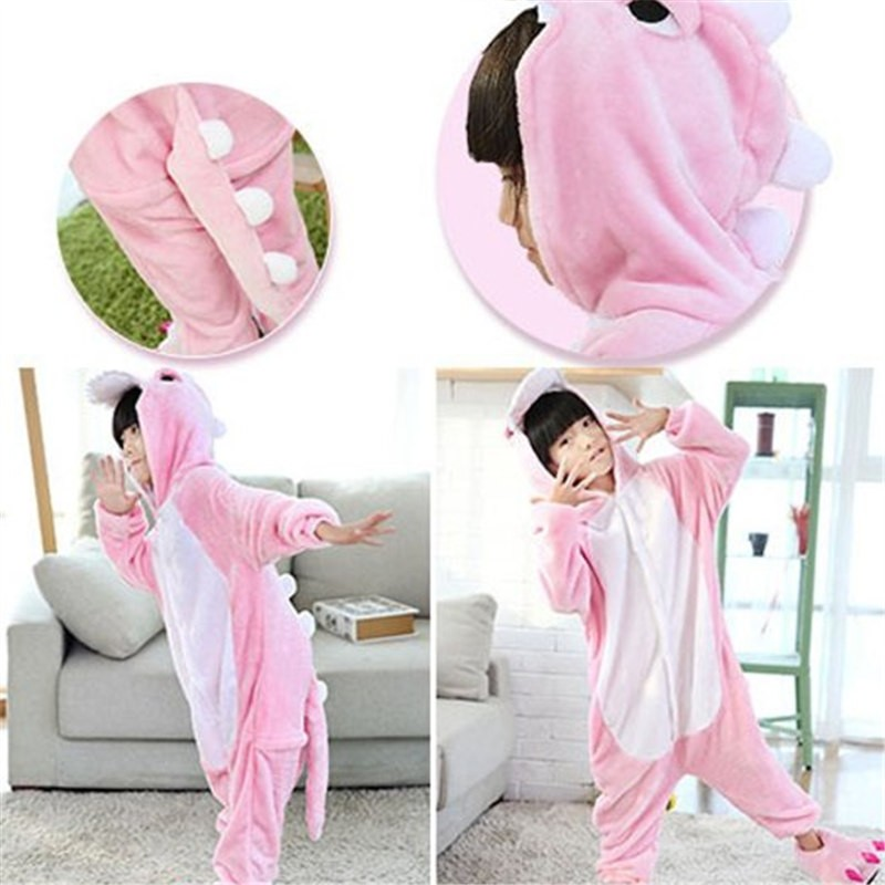 Childrens Halloween Pink Dinosaur Onesie Kigurumi Onesie Animal Pajama Cosplay For Kids