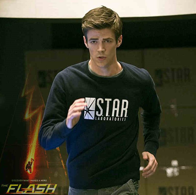 DC Super Hero The Flash Star Labs Logo Long Tee Shirt  Sweatshirts