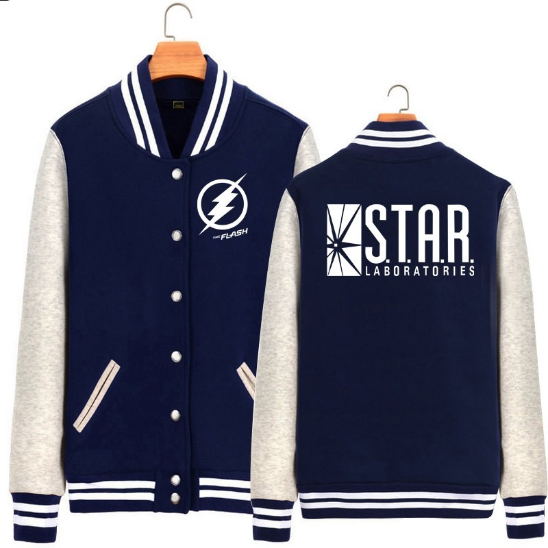 DC The Flash Hoodie Baseball Jacket Overcoat