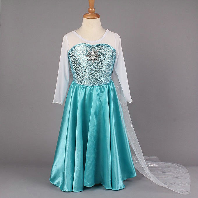 Disney Movie Frozen Elsa Kids Dress Cosplay Costumes