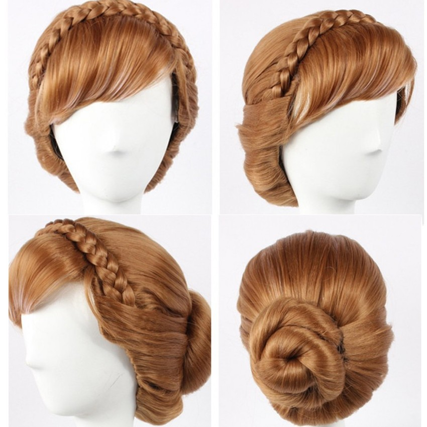 Disney Movie Frozen Princess Anna Cosplay Updo Wigs