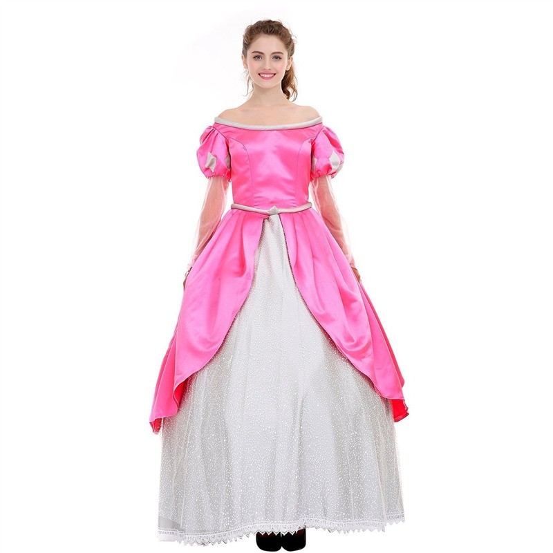 Disney Little Mermaid Ariel Princess Pink Dress Party Costume Cosplay