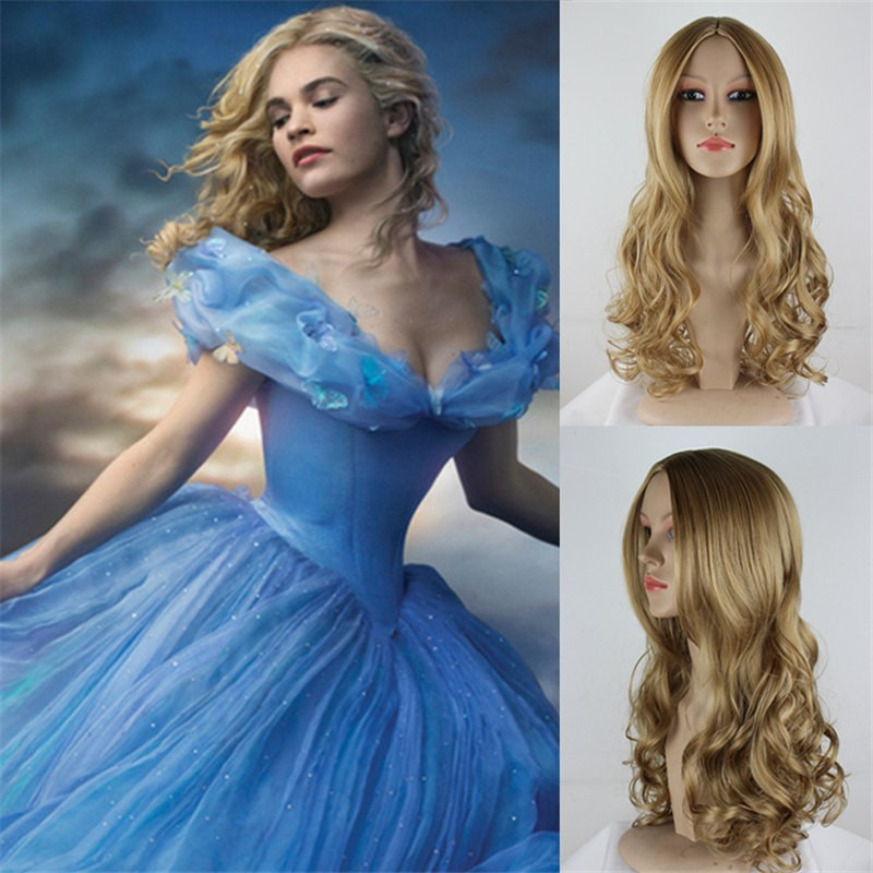 Disney Princess Cinderella Long curly hairCosplay Wig