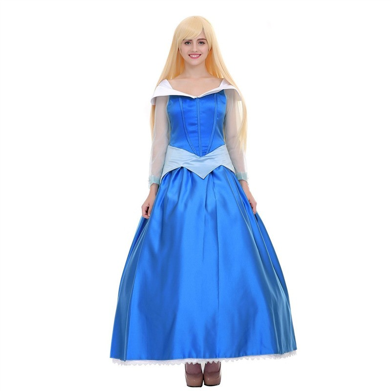 Disney Sleeping Beauty Aurora Princess Blue Dress Cosplay Costume