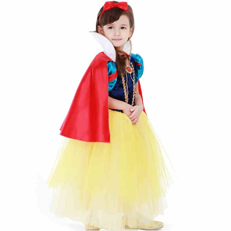 Disney Storybook Snow White Princess Girls Dress Costume Cosplay For Kids