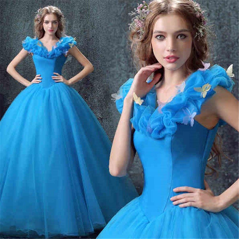 Disney Live Action Film Adult Cinderella Wedding Blue Dress Cosplay Costumes-- Deluxe Version