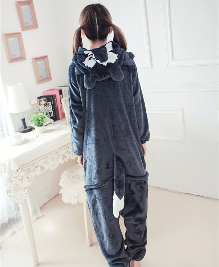 Big Bad Wolf Onesies Pajamas Unisex Flannel Kigurumi Onesies Winter Animal Pajamas For Adults